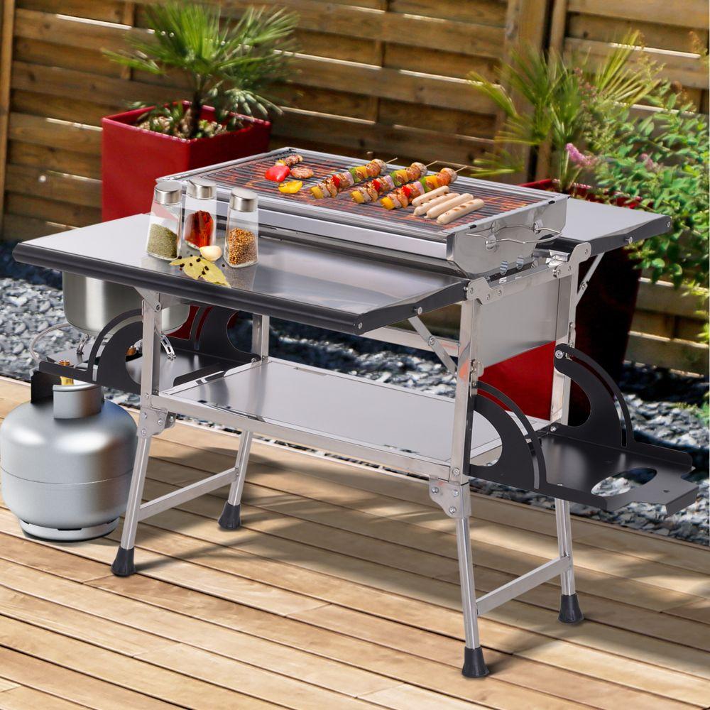 barbecue à gaz et au charbon de bois