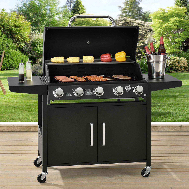 barbecue à gaz avec 5 brûleurs